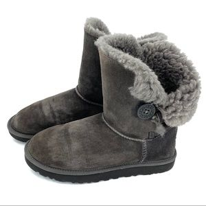 Ugg Bailey Button Genuine Sheepskin Boots Grey